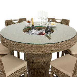 6 Seat High Garden Bar Set - Ice Bucket - Umbrella & Base - Chestnut Latte Rattan