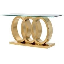 Parma Brass - Triple O Glass & Polished Brass Console Table