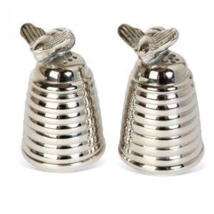 Cruet Set - Silver Plated Honey Beehive Salt & Pepper Set