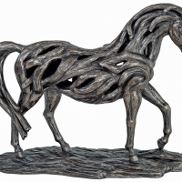 Cold Cast Bronze Statue - Driftwood Style Carved Mare