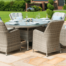 Oxford 6 Seat Oval Garden Dining Table Set - Inset Ice Bucket - Umbrella - GREY SYNTHETIC RATTAN