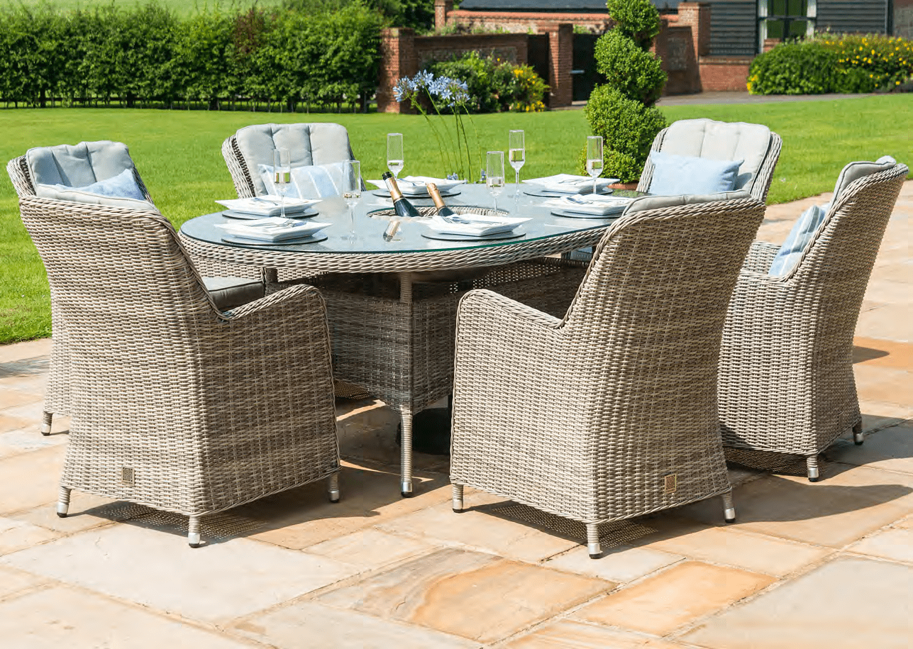 Oxford Seat Oval Garden Dining Table Set Inset Ice Bucket - 6 seat oval dining table