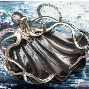 Octopus Fruit Bowl - Octopus Design - Polished Black & Chrome