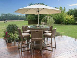 6 Seat Garden Bar Set - Inset Ice Bucket - Umbrella & Stand - Chestnut Latte Rattan