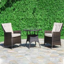 LA Bistro Set - Round Glass Top Table & 2 Chairs - BROWN POLYWEAVE