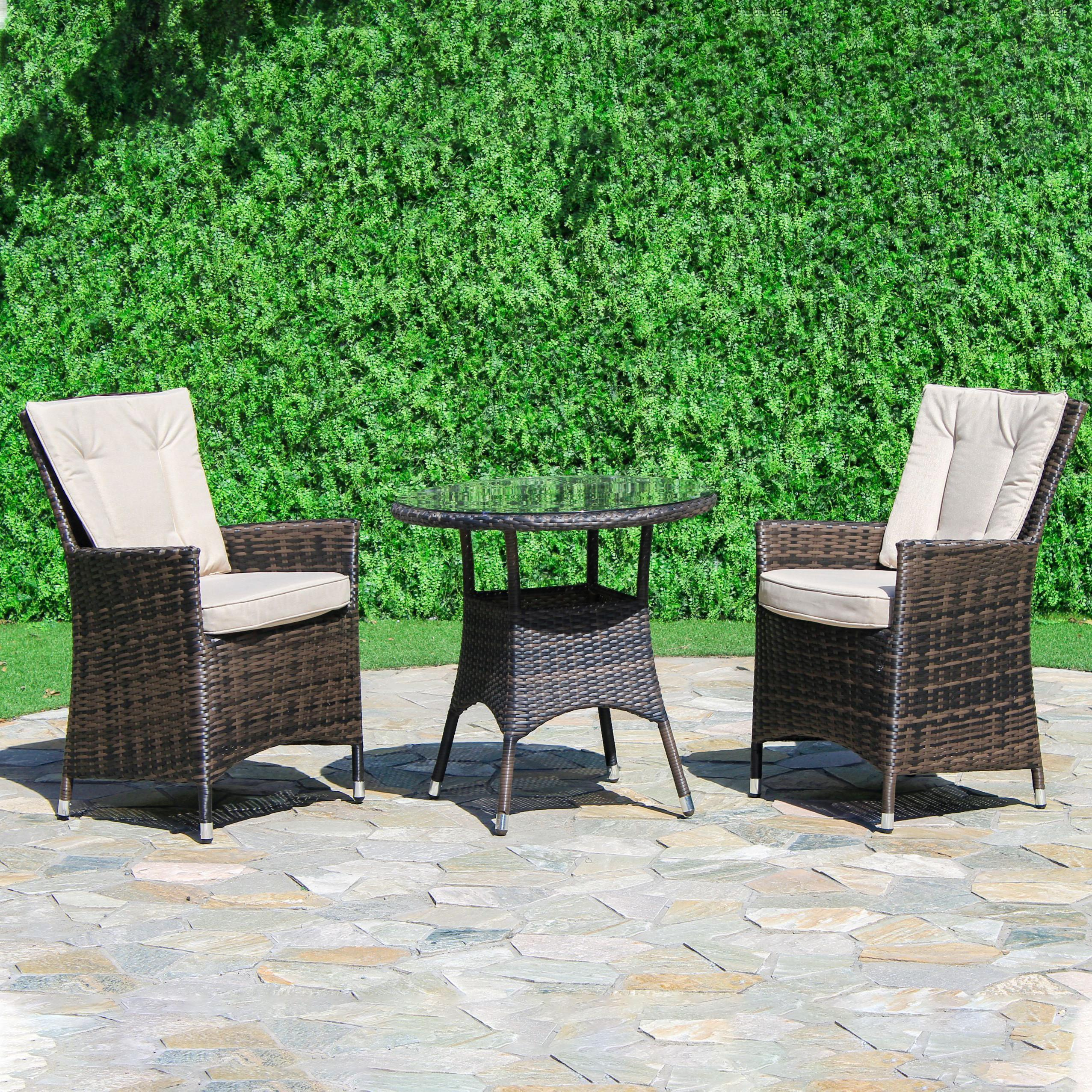 Picture of: La Bistro Set Round Glass Top Table 2 Chairs Brown Polyweave