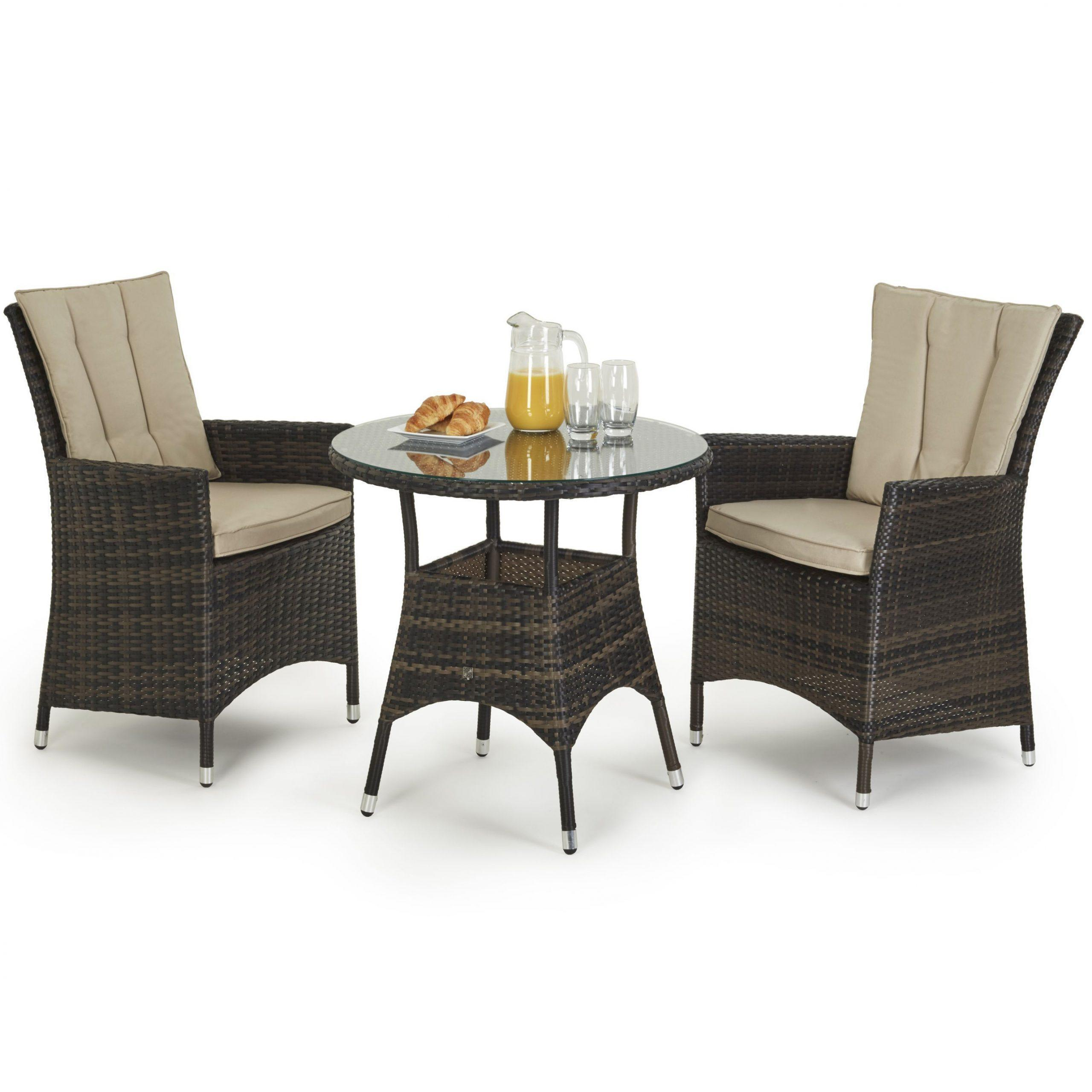 La Bistro Set Round Glass Top Table 2 Chairs Brown Polyweave