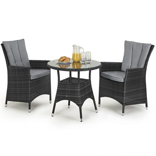 Bistro Set - Round Glass Top Table & 2 Chairs - GREY POLYWEAVE