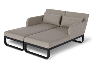 All Weather Fabric Double Sun Lounger Set - Taupe