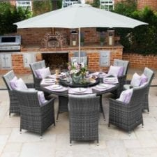 LA 8 Seat Round Garden Dining Set - Umbrella - GREY POLYWEAVE