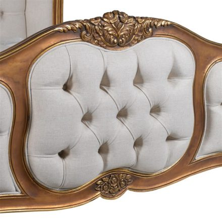 French Gilt Range - Deep Buttoned Linen Fabric Upholstered Super King-Size Bed