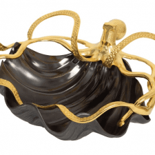 Shell Bowl With Gold Octopus