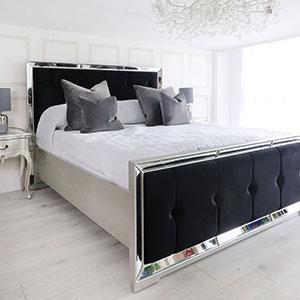 5ft King-Size Bed - Venetian Mirrored - Deep Buttoned King Size Bed - Black Velvet