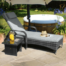 Florida Sunlounger & Table Set - GREY POLYWEAVE RATTAN