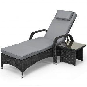 Sun Lounger & Glass Top Table Set - Grey Poly Weave Rattan