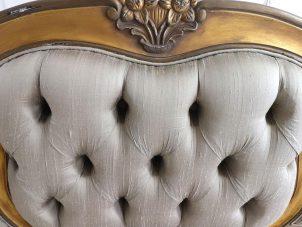 5ft King Size Bed - Silk Upholstered - Deep Buttoned - Antique Gilt Finish
