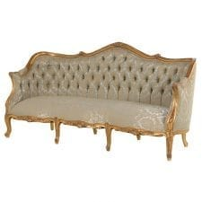 French Versailles Range - Gold & Green Upholstered - Carved 3 Seater Sofa - Gilt Finish