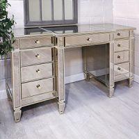 Dressing Table/Desk - 9 Drawer Dressing Table/Desk - Antique Mirrored Range