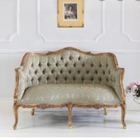 Seater Sofa - Gold & Green Silk - Carved Surround - French Gilt Finish