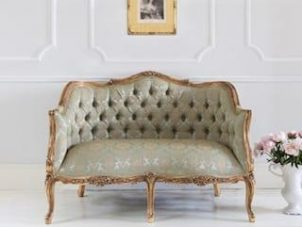 Sofa - 2 Seater - Gold & Green Silk Fabric - Carved Surround - Antique Gilt Range