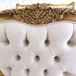 6ft Super King-Size Bed - Deep Buttoned Linen Fabric - Antique Gilt Range
