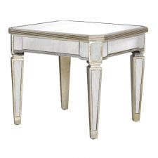 Venetian Seville Antique Mirrored Square Side Lamp Table