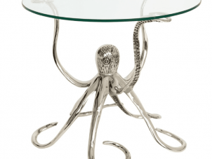 Octopus Lamp Table - Large Glass Topped Side/Lamp Table - Chrome