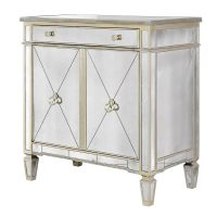 Cabinet - Large 2 Door 1 Drawer Mirrored Cabinet - Antique Mirrored Range