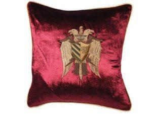 Scatter Cushion - Maroon Zardozi Emblem Embroidered - Feather Filled
