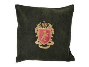 Scatter Cushion - Forest Green Zardozi Emblem Cushion - Feather Filled