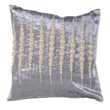 Luxury Cushion Collection ~ Grey Square Hand Beaded Pearl Cushion ~ Feather Filled