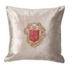 Luxury Cushion Collection ~ Champagne Gold Zardozi Embroidered Cushion ~ Feather Filled