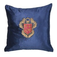 Luxury Square Cushion - Midnight Blue Zardozi Emblem Embroidered - Feather Filled