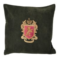 Luxury Square Cushion - Forest Green Zardozi Emblem Cushion - Feather Filled