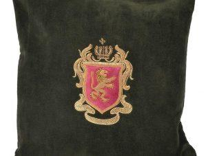 Luxury Square Cushion - Forest Green Zardozi Emblem Cushion - Feather Filled
