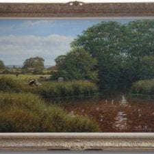 David Morgan 'Cattle In A River' Original Oil Painting