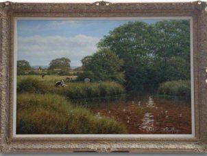 David Morgan 'Cattle In A River' Original Oil Painting
