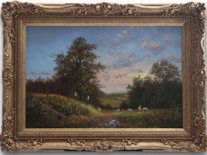 Noel Ripley Farm Hands At Work' Original Oil Painting