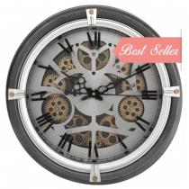 Round Moving Centre Cog Designer Wall Clock - Grey & Gold ~ Roman Numerals
