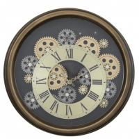 Round Moving Centre Cog Skeleton Wall Clock - Gold & Brown ~ Roman Numerals