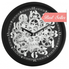 Round Moving Centre Cogs Wall Clock - Black & Mirrored