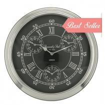 Round Chrome & Black 4 Face World Time Clock - Roman Numerals