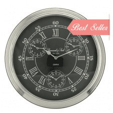 Round Chrome & Black 4 Face World Time Clock - Roman Numerals