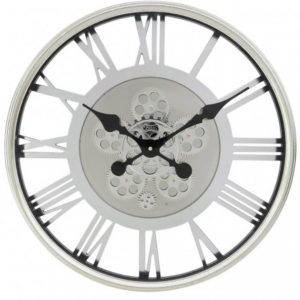 Wall Clock - Round Skeleton Moving Cogs Wall Clock - Silver Finish