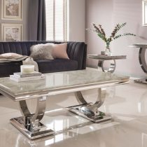 Coffee Table - Chrome Base - Cream Marble Top