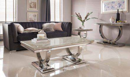 Coffee Table - Chrome Base - Cream Marble Top