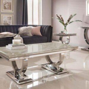 Cream Coffee Table - Chrome Base & Cream Marble - Contemporary Design