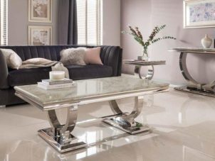 Cream Coffee Table - Chrome Base & Cream Marble - Contemporary Design