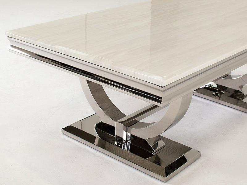 Chrome Cream Marble Top Contemporary Coffee Table