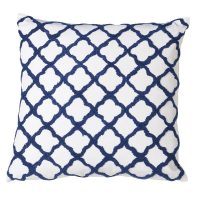 Luxury Square Cushion - Blue & White Quatrefoil Design - Feather Filled